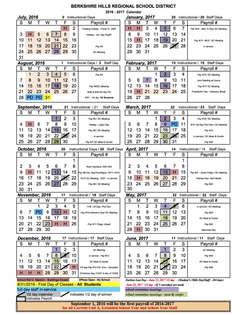 2016 - 2017 School Year Calendar