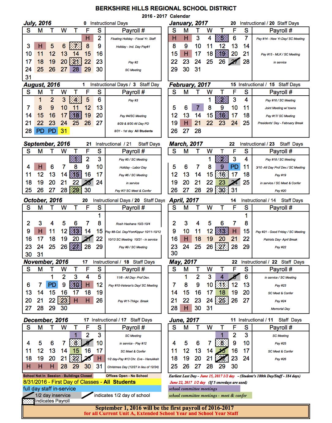 Berkshire Hills Regional School District School Calendar 201617 – School Calendar